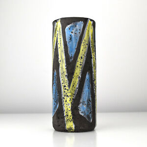Rare Fat Lava Pottery Graphic Pattern Vase Mid Century Modern WGP Vintage Ruscha