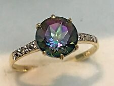 10K YELLOW GOLD  MYSTIC TOPAZ AND DIAMOND SOLITAIRE RING + RING BOX   SIZE 6