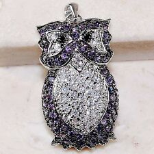 2CT Amethyst & Topaz 925 Solid  Sterling Silver Owl Pendant Jewelry, T1-9
