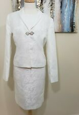 SHARAGANO Women 2PC White Patterned Dress Suit Size 12
