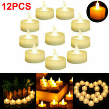 12PC Realistic LED Tea Lights Battery Operated Fake Candles Flickering Flameless