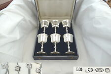 RARE CASED SET of 6 QE II HM STERLING SILVER ROYAL IRISH GOBLETS