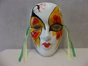 One (1) Porcelain Mardi Gras Mask - White/Yellow/Red                      03x3