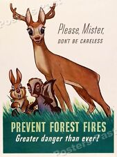 """1940s """"Please Prevent Forest Fires"""" WWII Historic Propaganda War Poster - 20x28"""