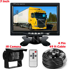"4 Pin 12V-24V 7"" LCD Monitor and Truck Backup IR Camera for Tractor Horse Boxes"