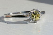 GIA Certified Round Diamond Natural Fancy Yellow Color- VS2 Halo Engagement Ring