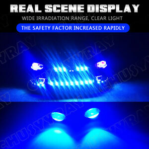 4x Raptor Style Smoked ICE Blue LED Front Grille Running Lights For Ford F150