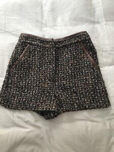 Topshop Boucle Faux Leather Trim Shorts Size 8