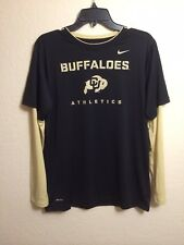 University Of Colorado Buffaloes NIKE Dri Fit Long Sleeve. Size L. Blk/Gld. NCAA
