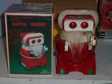 Vintage Plastic Battery Operated Santa Robot(VG) in Box((Works a Little)1970's