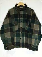 VINTAGE WOOLRICH PLAID CHECK Wool Check Plaid Shirt Jacket Green Grey Yellow
