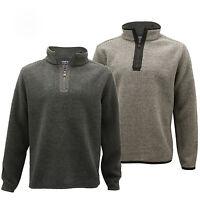 Mens Micro Fleece Marl Half Zip Up Funnel Neck Sweater Pullover Jumper Top