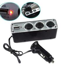 3 in 1 Triple Socket Car Cigarette Cigar Lighter 12V USB Port Adapter Power Plug