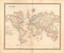 1843 ANTIQUE MAP- DOWER - THE WORLD ON MERCATOR'S  PROJECTION