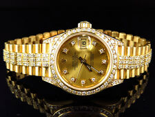Excellent Ladies 27 MM Rolex President Datejust 18k Yellow Gold Diamond Watch