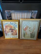 A Pair of Vintage Art Nouveau-Style Alphonse Mucha Framed Advertising Prints