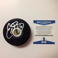Eddie Olczyk Signed Autographed Chicago Blackhawks Hockey Puck Beckett BAS COA a