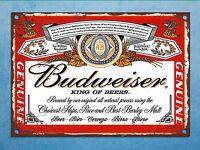 Metal plaque vintage retro style Budweiser beer decorative tin wall den bar sign
