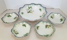 Rare 1910-20, 5 Piece RS Prussia Berry Bowl Set  White Flower Blue Accent