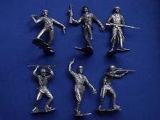 "MARX WWII RUSSIAN SOLDIERS FIGURES RECAST 6"" DIFFERENT POSITIONS SILVER COLOR"
