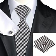 100% Pure Silk Tie Cuff-links & Handkerchief Set with Black & Grey Check Pattern