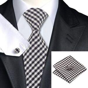 100% Pure Silk Tie Cuff-links & Handkerchief Set with Black & Grey Check Pattern