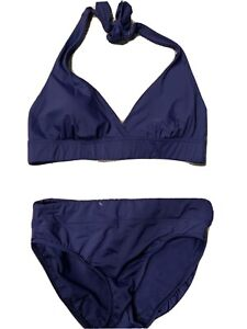 NWOT LANDS END Womens 12 Swimsuit 2 piece bikini Separates Navy
