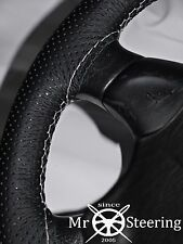 FOR SKODA FABIA 2 07+ PERFORATED LEATHER STEERING WHEEL COVER WHITE DOUBLE STITC
