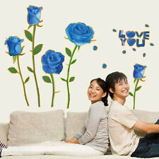 Removable Blue Rose Romantic Bedroom Sofa Wall Stickers DIY Home Decor Mural Art