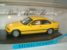 1/43 BMW E36 3 SERIES IN YELLOW STANDARD 2 DOOR COUPE, MINICHAMPS.