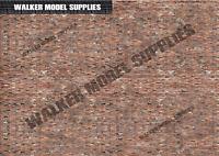 1:43 scale (3xA4) Garage Brick wall - Peel and Apply sticker//model car 2