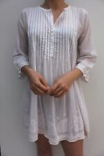 Orelia White Bela Paisley Embroidered Casual Shift Shirt Tunic Dress S M 10 12