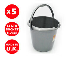 5 x 13 LITRE PLASTIC STORAGE BUCKET - WITH HANDLE - WASTE - WATER -LARGE -SILVER