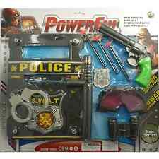 Kids Police Set Magnum Revolver Shield Handcuffs Goggles Toy Set & Fancy Dress