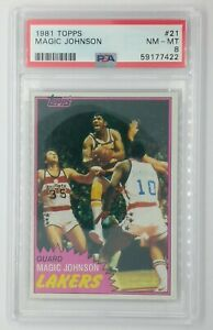1981 81 Topps Magic Johnson #21, Los Angeles Lakers, HOF, Graded PSA 8 !