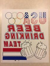 Vintage T-Shirt Heat Transfer USA Beer Drinking Team- Red, White & Blue