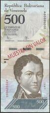 Billete especimen 500 Bs. venezuela...UNC