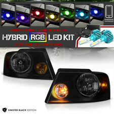 """2004-2008 Ford F150 """"SINISTER BLACK"""" Head Lights Assembly [RAINBOW LED LOW BEAM]"""
