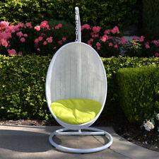 Neon Yellow White Egg Shape Wicker Rattan Swing Chair Hanging Hammock
