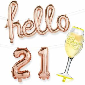 21st Birthday Party Rose Gold Foil Balloons, Hello 21, Champagne Glass