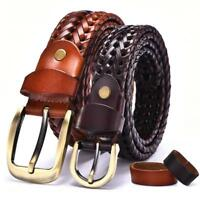 Men's Genuine Leather Braided Girdle Pin Buckle Waistband Waist Band Belt Strap