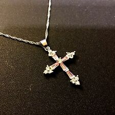 "CC Pink Sapphire Cross & 18"" Silver Chain (white gold filled) BOXED Plum UK 20"