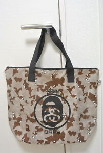 A BATHING APE x STUSSY Collaboration Camouflage color Tote Bag Used