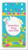 Candyland Custom Birthday Party Rectangle Stickers - 2oz Sanitizer