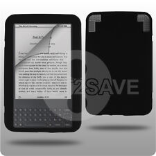 Black Silicone Case Skin Cover Amazon Kindle 3 3G WIFI - UK - In Stock