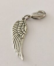 LOVELY SILVER ANGEL WING 3D - CLIP ON CHARM FOR BRACELETS -TIBETIAN SILVER - NEW