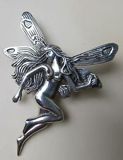 """Sterling Silver Large 2"""" x 2 1/2"""" Nude Fairy Pin Brooch ~FREE  Gift Box~"""