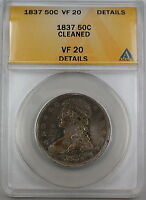 1837 Capped Bust Silver Half Dollar ANACS F-15 Fine Coin