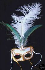 Snow Queen Sequin Mardi Gras Mask Costume Ostrich Lady