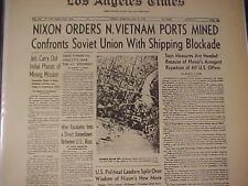 Vintage Newspaper Headline ~President Nixon Orders Ports Mined North Vietnam War